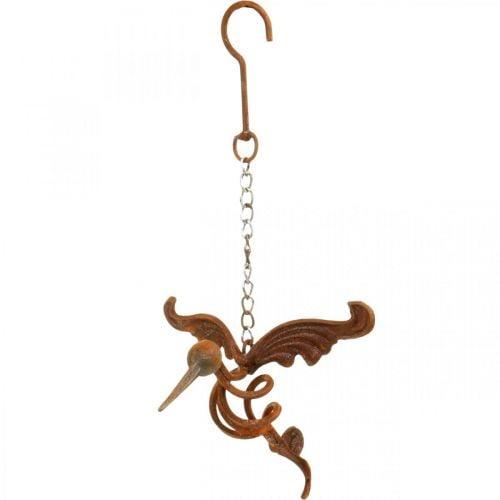 Décoration de jardin Kolibri oiseau inox à suspendre 24×19cm