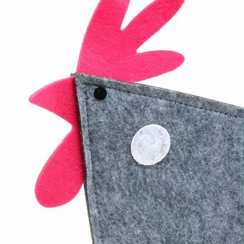 Robinet décoratif en feutre à pois gris, blanc, rose 57cm x 7cm H58.5cm décoration de fenêtre