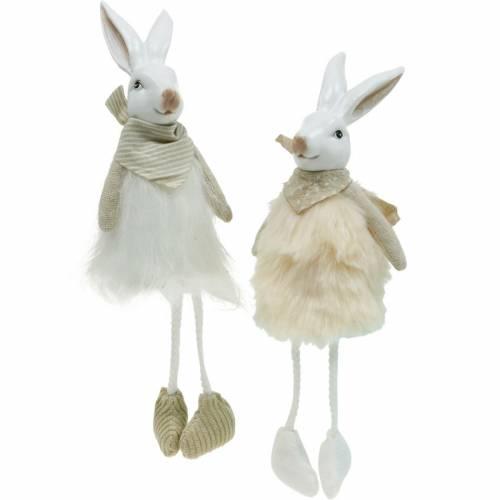 Décoration de Pâques siège de bord de lapin 26cm figurine de lapin de Pâques 2pcs
