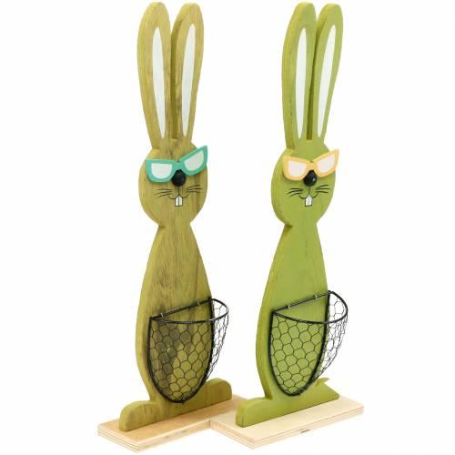 Lapins de Pâques avec panier vert, printemps, panier de plantation décoratif, lapin en bois de décoration de Pâques 2pcs