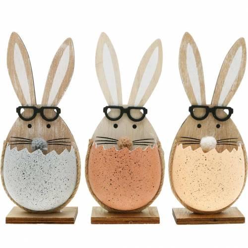 Lapin en bois dans un œuf, décoration printanière, lapins avec des lunettes, lapins de Pâques 3pcs