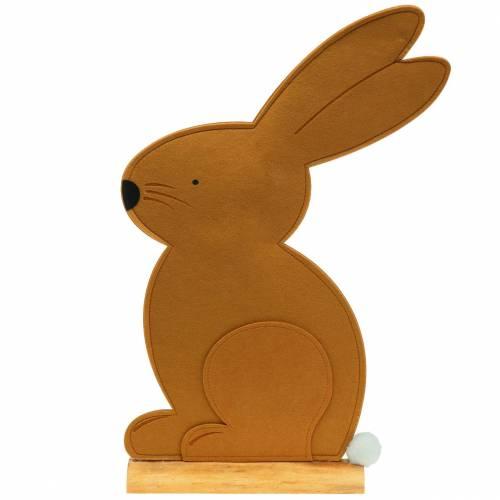 Lapin décoratif assis en feutre marron clair 40cm x 7cm H61cm Décoration de Pâques, vitrine