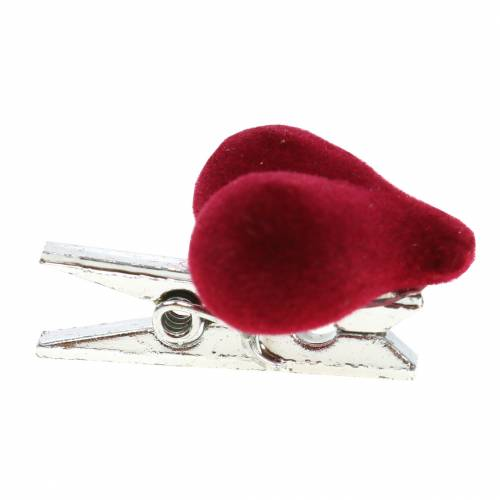 Déco coeur avec pince rouge 3cm 8pcs