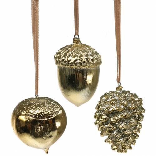 20 cm-Gold cônes-Décoration de Noël Pomme de pin artificiel Couronne