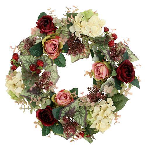 Chapelet automnal avec des fleurs et des baies Ø38cm