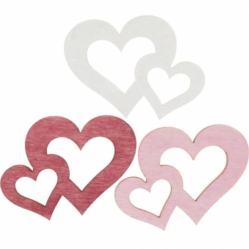 Coeurs en bois, cadeaux pour décorations de table, Saint Valentin, décorations de mariage, double coeur 72pcs