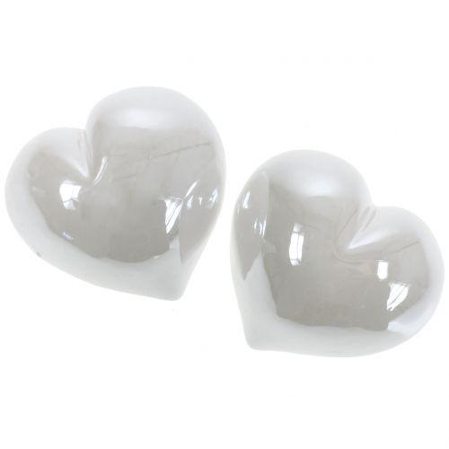 Coeur nacre blanche 7cm 4pcs