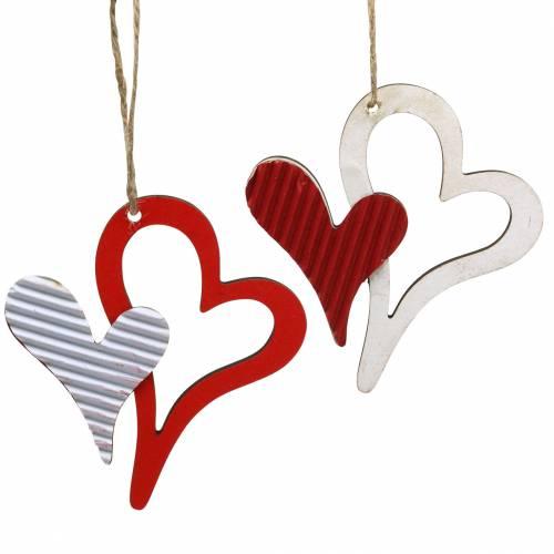 Pendentif coeur en bois rouge, blanc 8cm 24pcs