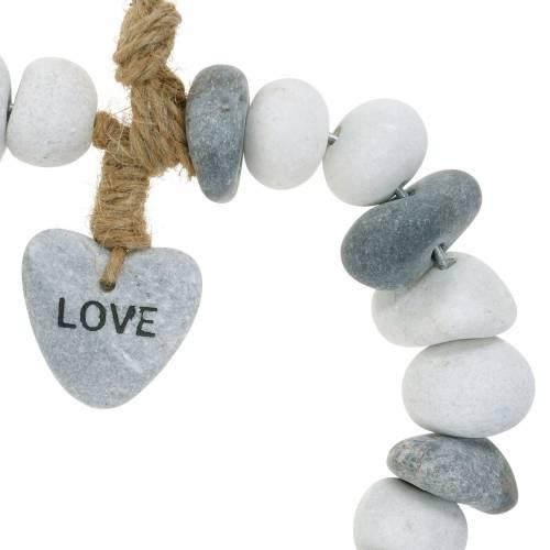 Coeur à suspendre «Love» en galets de rivière Nature, gris / blanc Ø18cm 1 pc
