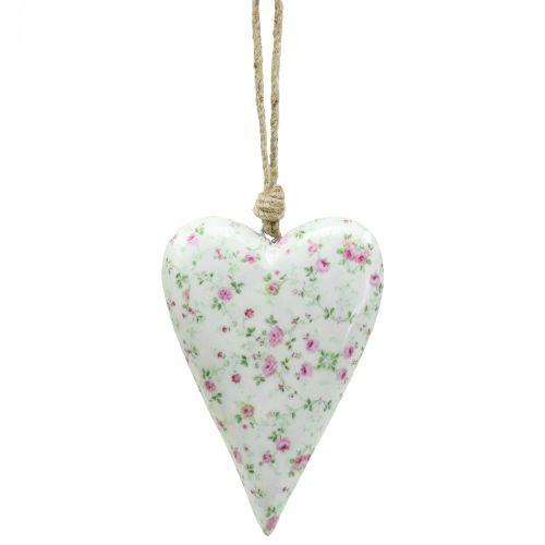 Cœur à suspendre avec roses 10 x 15 cm