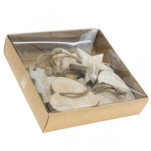 Pendentifs en bois, sapin / coeur / étoile, set de décoration de Noël H7.5 / 8cm 9pcs