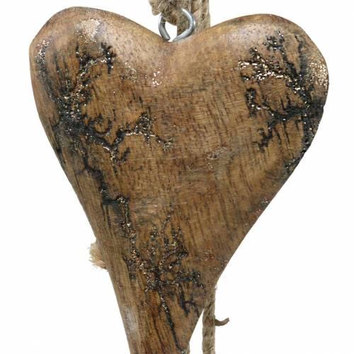 Coeurs en bois avec incrustations de paillettes sur un fil à suspendre naturel L60cm
