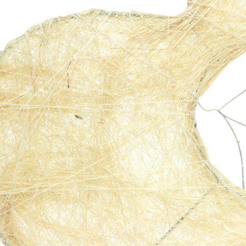 Coeur porte-fleurs en sisal blanchi 25 cm 6 p.