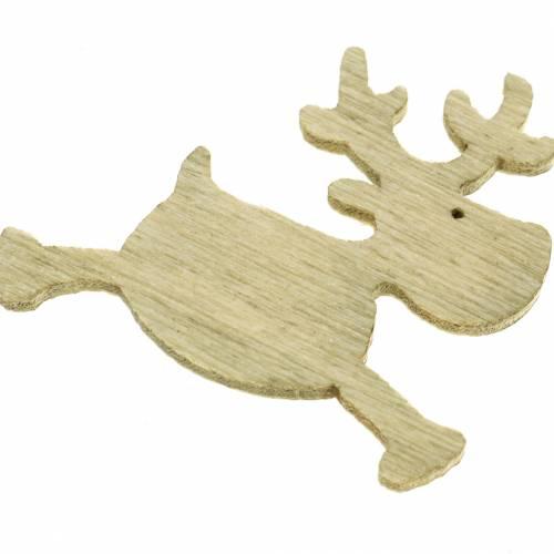 Cerf Décoration à contrôler en bois, blanc, marron, nature 4cm 72pcs