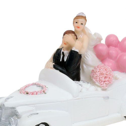 Figurine nuptiale jeunes mariés en voiture 16 cm