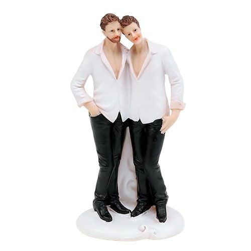 Figurine de mariage couple d'hommes 19 cm