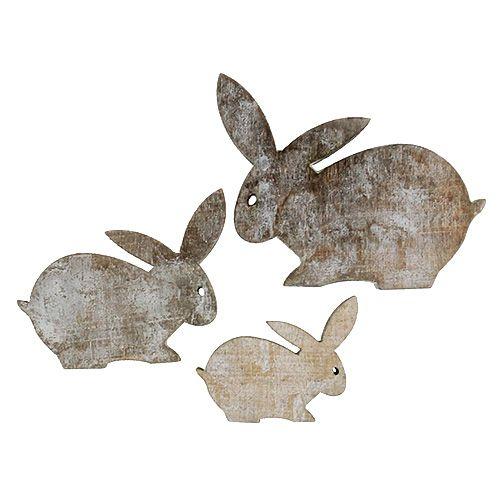 Lapins en bois de couleur naturel, blanc 2,5-4cm 22P.