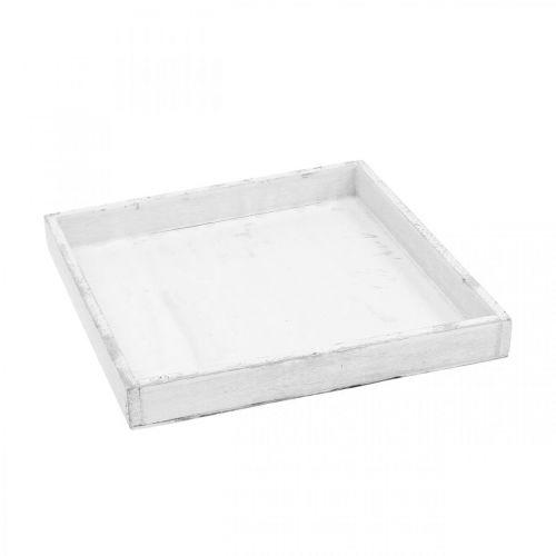 Plateau décoratif blanc plateau en bois angulaire Shabby Chic 24,5 × 24,5cm