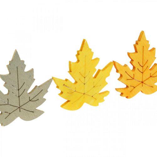 Saupoudrer décoration automne, feuilles d'érable, feuilles d'automne doré, orange, jaune 4cm 72p