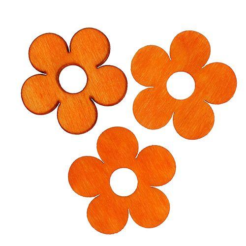 Fleur en bois à parsemer orange 4 cm 72 p.