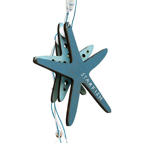 Suspension en bois étoile de mer bleue 36 cm 4 p.