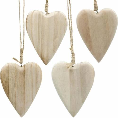 Coeurs en bois à accrocher naturel 10cm 4pcs