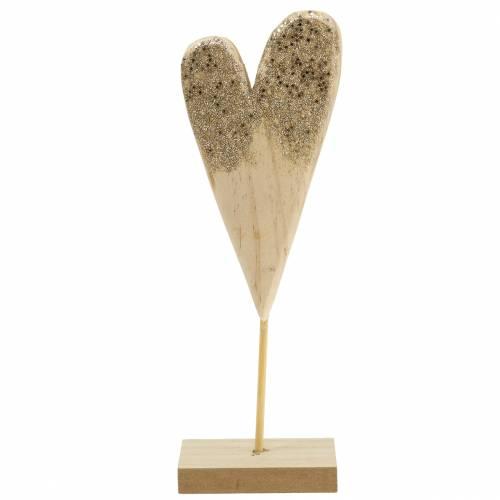 Déco coeur sur pied bois avec paillettes H27cm
