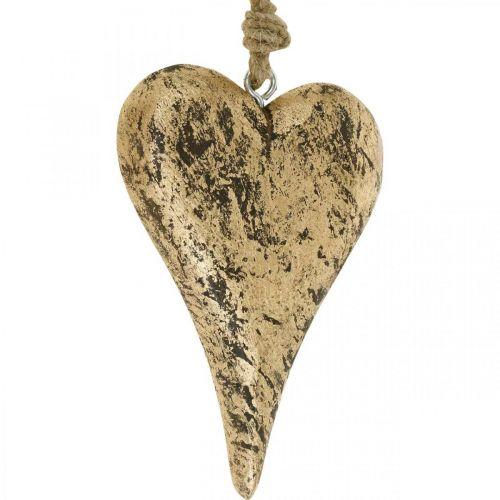 Cœur à suspendre bois doré cintre vintage 15cm