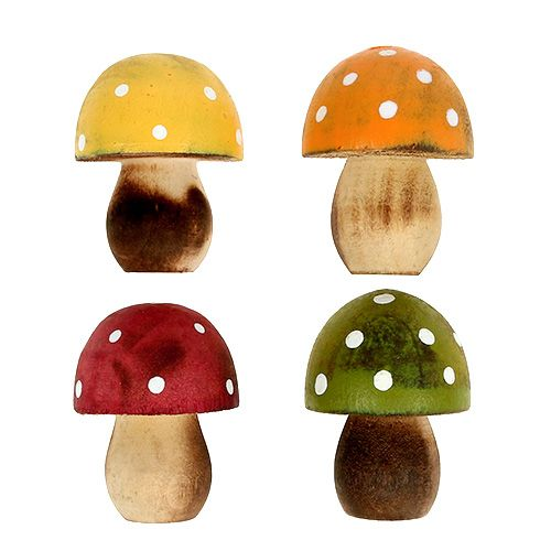 Décor à saupoudrer de champignons en bois 3cm assortis 24pcs