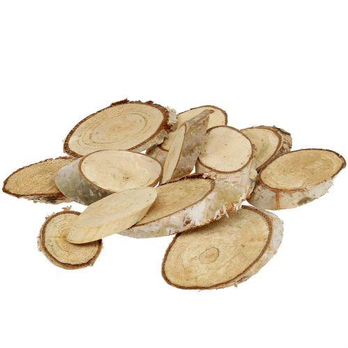 Tranches de bois bouleau ovale 5cm - 20cm 500g