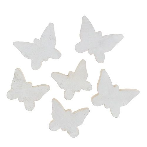 Papillon en bois blanc 3cm 30P