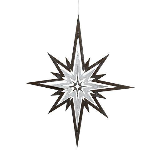Étoile en bois à suspendre gris, blanc 48cm x 40cm