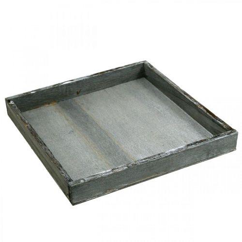 Plateau bois angulaire gris, décoration de table blanc Shabby Chic 24,5x24,5cm
