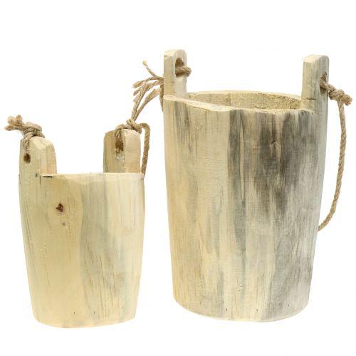 Pot en bois à suspendre naturel 2 p.