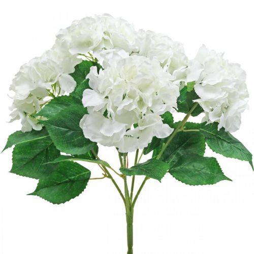 Bouquet décoratif d'hortensias fleurs artificielles blanches 5 fleurs 48cm