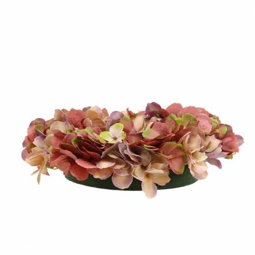 Couronne d'hortensia vieux rose Ø30cm