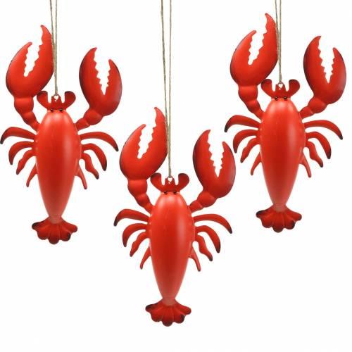 Cintre déco homard métal rouge 11,5x21,5cm 3pcs