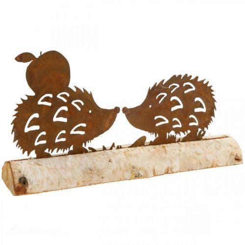 Décoration hérisson rouille écorce de bouleau métal décoration automne 20×4cm H10.5cm