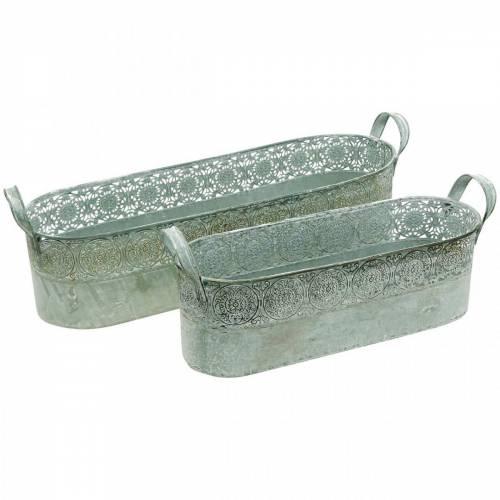 Jardinière en métal avec poignées Jardinière Jardinière Vintage, lot de 2