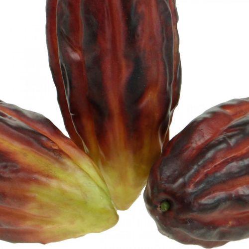 Cabosses de cacao artificiellement mélangées, assorties violet, rouge-orange 18cm, lot de 2