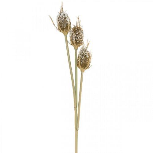Branche de chardon chardon cartonné marron glacé à 3 têtes 90cm