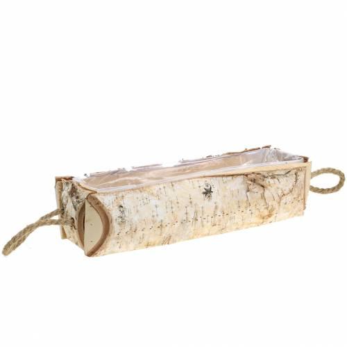 Jardinière en bouleau avec anses en corde 38x16cm H9cm