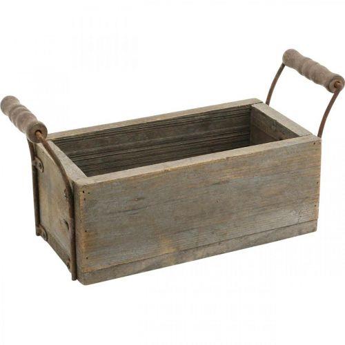 Jardinière, boîte décorative, boîte en bois avec poignées, boîte artisanale Shabby Chic L25cm H10cm
