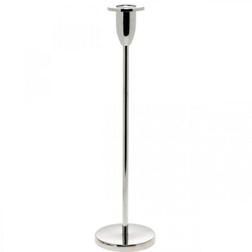 Bougeoir décoration bougeoir en métal argenté pour bougies bâton H31cm