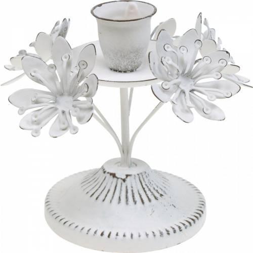 Décoration de bougie, printemps, bougeoir avec des fleurs, décoration en métal pour le mariage