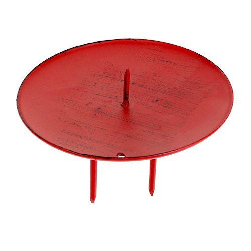 Bougeoir avec pointe Rouge Ø8cm 4pcs