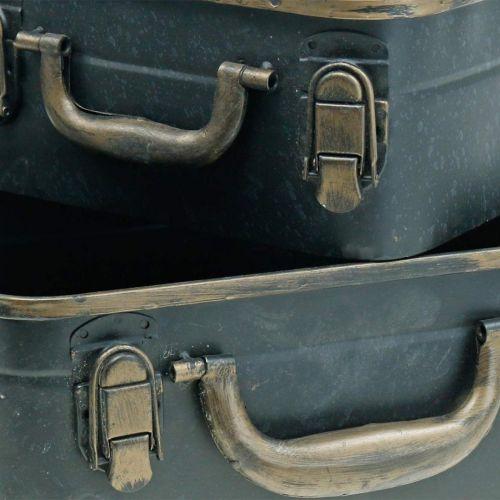 Coffret métal, jardinière, coffret pour plantation L30 / 22,5cm, lot de 2