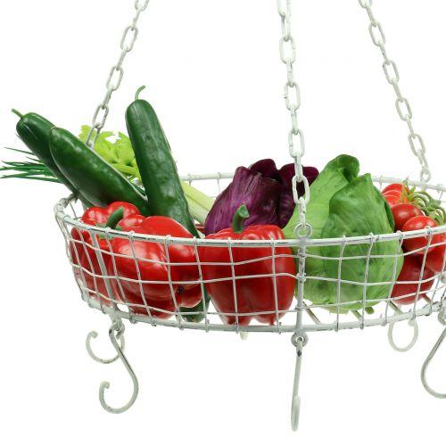Panier à suspendre de cuisine avec crochets blanc Ø41cm