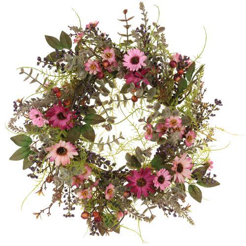 Couronne florale avec pâquerettes et baies, vieux rose Ø 30 cm