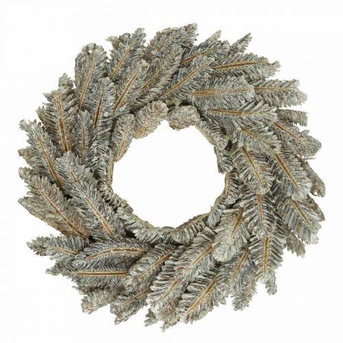 Cônes de couronne décorative Couronne de l'Avent couronne de porte blanche, pailletée Ø35cm